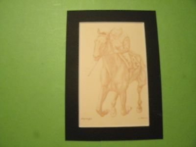 4#A   Vintage Race Horse Forego drawing painting wall art signed J. Adessi