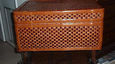 Striking  Vintage Woven Rattan Trunk - Appalachian Mntns.