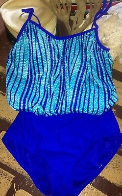 Vintage Aqua Blouson Turquoise Tummy Minimizer Swimsuit Stripe One Piece 8 M