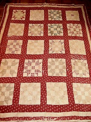 "Antique Cross and Crown cutter quilt 66""x79""  Early Fabrics Primitive crafting"
