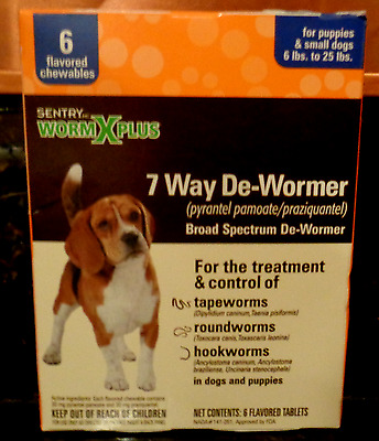 Sentry HC WormX Plus 7-Way De-Wormer for Dogs 6-25 lbs, 6 Flavored Chewables
