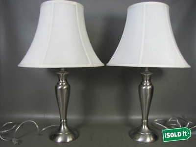 "PAIR OF MODERN DECOR STAINLESS STEEL FINISH TABLE LAMPS w/ WHITE SHADES 26"" TALL"