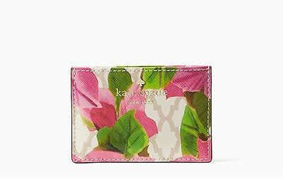 "NEW! KATE SPADE Bayard Place Card Case Mini Wallet ""Bougainvillea Pink Floral"""