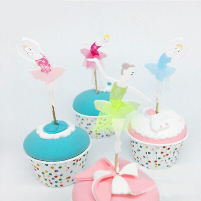 8pcs Ballet Girls Flag Toppers Cupcake Cake Decor Wedding Party Supply