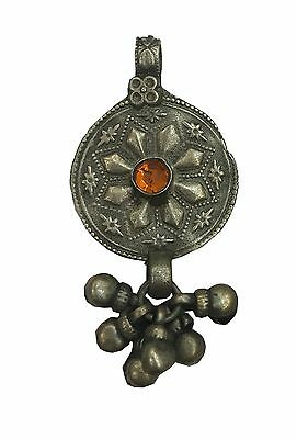 Antique Vintage Ethnic Silver Handmade Old Art Pendant With Stone & Knighthood