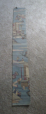 Beautiful and large old Chinese kesi silk panel with Red Chamber scenes
