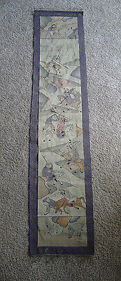 Beautiful and large old Chinese kesi silk panel with horses