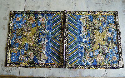 Very rare pair of old Chinese forbidden stitch silk Quail rank badges