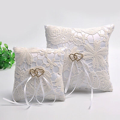 Double Heart Wedding Pocket Ring Pillow Cushion Bearer Crystal Rhineston JR