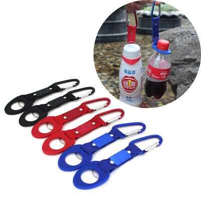Water Bottle Holder Camping Hiking Aluminum Rubber Buckle Hook Carabiner BB