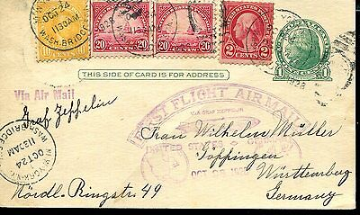 Usa 1928 Zeppelin Card First Flight Air Mail Mixed Franking To Germany Göppingen