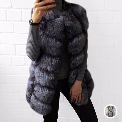 100% Real Silver Fox Fur Vest Long Vests Coat Sleeveless Waistcoat Women Coats