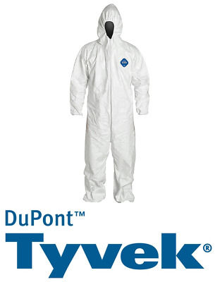 2 x Dupont Tyvek Suit Asbestos Protective Spaceman Coverall Disposable White