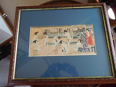 Bath house scene with semi clad beauties Japanese woodblock character marks VGC