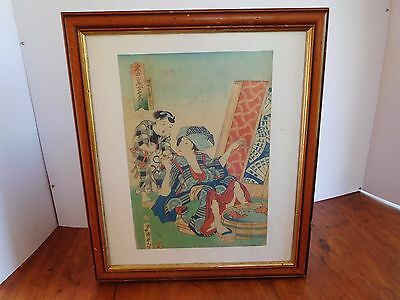 Two beauties Japanese woodblock character marks VGC