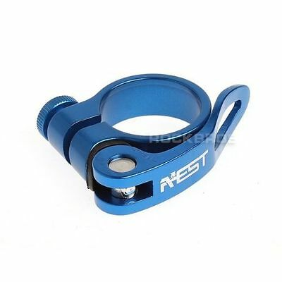 AEST Road Cycling MTB Seatpost Seat Post Clamp Quick Release QR 31.8mm Blue