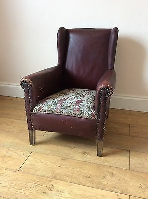 Antique Edwardian Oak Framed Leather Armchair