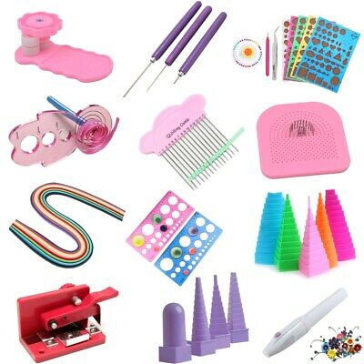 Paper Quilling DIY Craft Tool Slotted Template Board Mould Grid Needle Kit Set