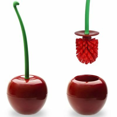 Qualy Red Cherry Toilet Lavatory Cleaning Brush with Holder Bathroom Novelty