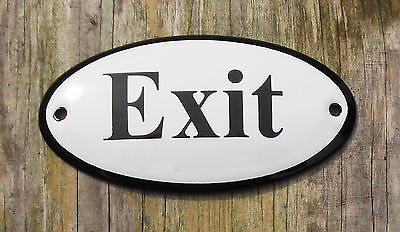 CLASSIC ENAMEL EXIT SIGN. BLACK TEXT ON A WHITE BACKGROUND. 10x5cm.