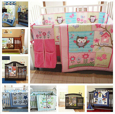 Cartoon Baby Nursery 7 8 Pcs Crib Bedding Set Comforter Bumper Sheet Dust ruffle