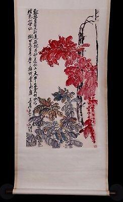 Awesome Old Chinese Scroll Handwork Painting Landscape Marks WuChangShuo KK759