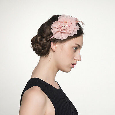 Premium Womens Pink Rose Flowers Fascinator Party Wedding Bride Hair Fascinator
