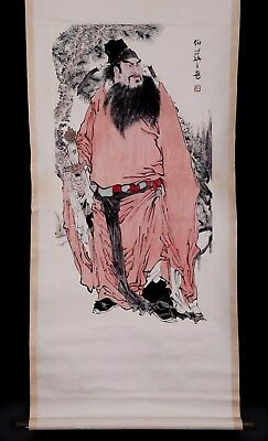 Exquisite Long Old Chinese Scroll Hand Painting Old Man Marks KK739