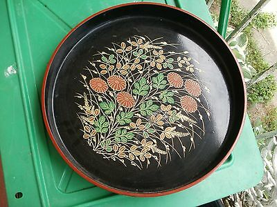 pair of JAPANESE LACQUER WARE / ROUND TRAY / Wildflowers & Chrysanthemums