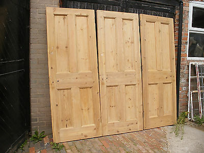Large reclaimed Edwardian 4 panel stripped pine doors.  (6 available)