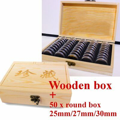 Wooden Coins Display Storage Box Case and 50 Round Box Slab Certified Capsules