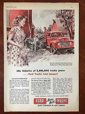 Vintage 1948 Original  Color Print Ad FORD Model F-5 Pickup Truck