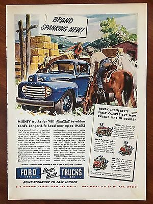Vintage 1948 Original Color Print Ad FORD Pickup TRUCK ~brand spanking new~
