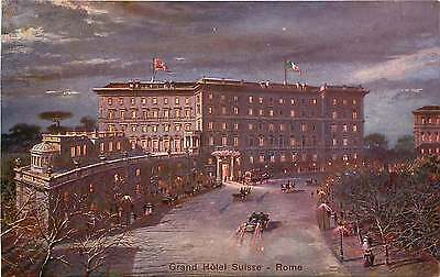 ROMA ITALY GRAND HOTEL SUISSE NIGHT VIEW POSTCARD c1900s