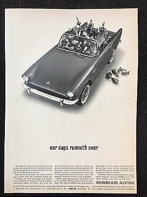 Vintage 1962 Original Print Ad SUNBEAM ALPINE Convertible ~Cups Runneth Over~