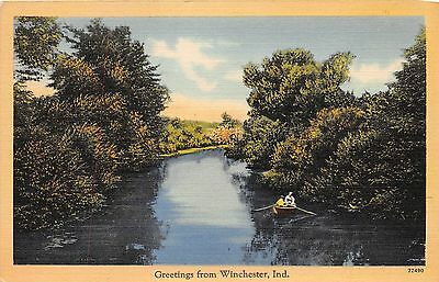 WINCHESTER INDIANA GREETINGS FROM POSTCARD 1940s