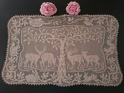 "Exquisite Vtg Tablecloth Topper ~ Mary Card ""woodlander"" Filet Crochet Lace"