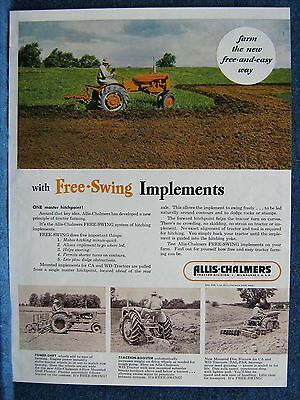 1952 Allis-Chalmers Ad Print - Free-Swing Implements  - 4 Farm Action Scenes