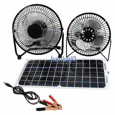 10W 12V Solar Panel & Fan RV Touring Car Camping Pet Chicken House Ventilator