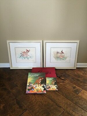 Disney Bambi Suite 2 Lithographs Signed Frank Thomas Ollie Johnston Plus Books