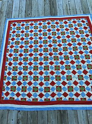 Antique 1890's Quilt Top Red Green Blue Documented