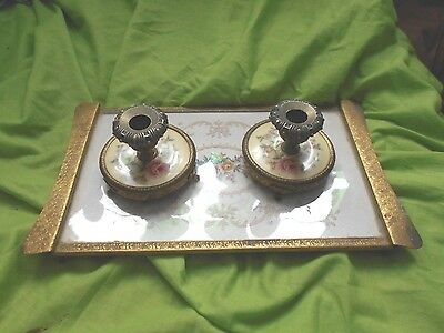 a vintage petit point tray and a pair of candlesticks