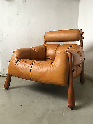 Original Percival Lafer Leder 60ies Sessel Lounge Chair Brazil Modernist Leder
