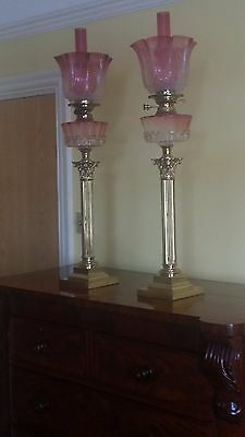 Antique Lamps Ruby (circa1890) A PAIR BEAUTIFUL CONDITION