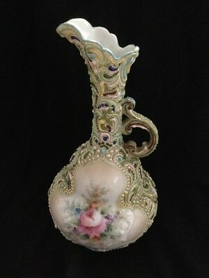 Antique Moriage Porcelain Hand Painted Pitcher/vase Delicate Floral Display