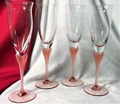 """MIKASA CRYSTAL """"SEA MIST CORAL FROSTED STEM""""-  SET OF 4 FLUTED CHAMPAGNE-Mint"""