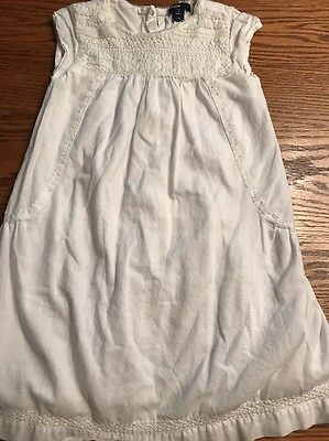 Baby Gap Toddler Girls Size 4T White, Embroidered Short Sleeve Dress