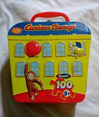 CURIOUS GEORGE SCHOOLHOUSE TIN Metal Box With Handle MONKEY Carry Case CLEAN