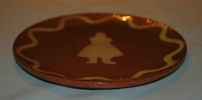 Small Redware Pottery Plate With Girl Design, Signed And Dated 1985
