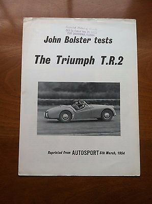 1954 Triumph Tr2 Sales Brochure, Original Item, Not A Re-Print